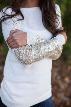 White Patchwork Sequin Round Neck Long Sleeve Pullover Sweater
