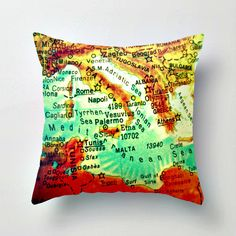 ITALY GREECE  Map Pillow   MEDITERRANEAN Map by VintageBeachMaps, $38.00