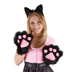 Cute Kitty Paws Gloves Cat Costume Adult or Child Black   eBay #ebay #Halloween