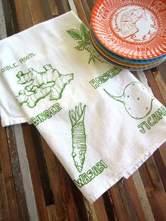 Screen Printed Organic Cotton Flour Sack Tea Towel - Edible Roots Illustration - Eco Friendly and Awesome Kitchen Towel - Soft and Absorbent. $8.00, via Etsy.