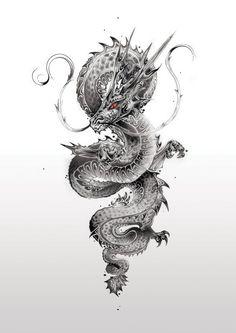 japanese tattoos meaning Dragon Tattoo Drawing, Dragon Tattoos For Men, Japanese Dragon Tattoos, Dragon Tattoo Designs, Tattoo Drawings, Tattoo Ink, Tiger Tattoo, Samourai Tattoo, Si Scott