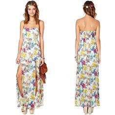 Strapless Cute Floral Print Maxi Woman Long Summer Dresses