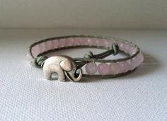 GOOD LUCK ELEPHANT Dyed Jade Wrap Bracelet by Jennasjewelrydesign