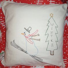 WINTER Pillow Cover Hand Embroidery Snowman Tree by NoJumbledDucks