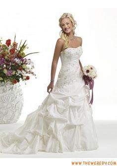 modesto senza spalline applique taffetà vestito da cerimonia nuziale poco costoso