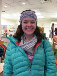 Caroline is wearing a Manos headband and scarf.
