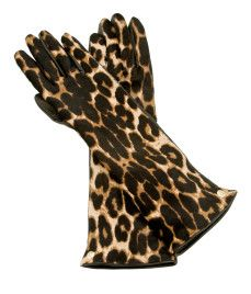 Leopard haircalf glove