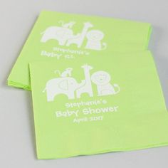 Clean up with personalized jungle themed napkins!