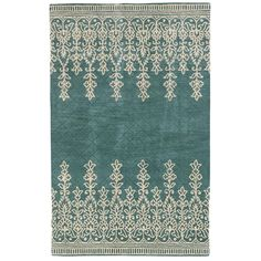 Kushi Border Rug - 8x10 Teal - Pier 1 Totally not practical, but would love this in my bathroom.
