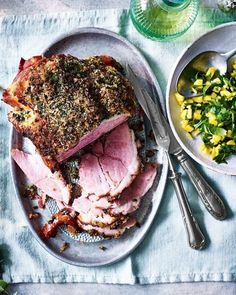 We've given this glorious gammon recipe a bit of a kick with sweet and spicy jalapeño peppers. If you like your food extra hot, try adding some chopped red chillies to the salsa. Gammon Recipes, Pork Recipes, Christmas Ham Recipes, Holiday Recipes, Christmas Style, Roasted Ham, Mango Salsa Recipes, Hanukkah Food, Lime Salt