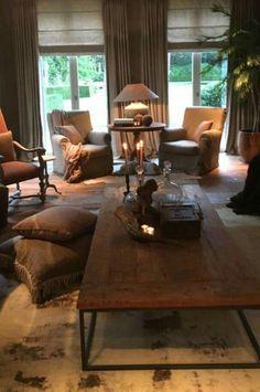 By Pieter Porters New Living Room, Cozy Living, Interior Design Living Room, Home And Living, Living Room Decor, Living Spaces, Dream Home Design, House Design, Country Interior