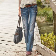 """KELLY STRAWBERRY BLOSSOM JEANS BY DRIFTWOOD--Meandering, floral embroidery and a hint of figure-loving flare make these jeans unique. By Driftwood. Cotton/elastane. Machine wash. Imported. Sundance exclusive. Sizes 26 to 32. 33"""" inseam."""