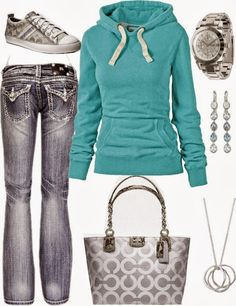 Casual Sports Outfit With Mint Hoodie... or a pink Pure Romance hoodie....