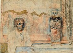 James Ensor, Skeleton Drawing;  1889.
