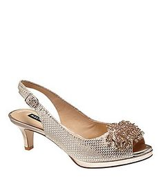 225e5bfc2373 Alex Marie Marla Metallic Suede Beaded Accent Peep-Toe Pumps Bridal Wedding  Shoes