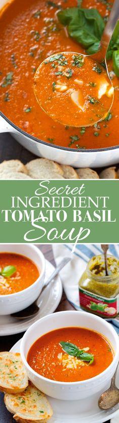 Secret Ingredient Tomato Basil Soup - One super important ingredient makes this soup so OUTSTANDING! #tomatobasilsoup #tomatosoup #tomatobasilbisque | Littlespicejar.com
