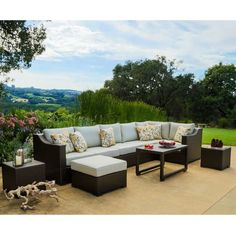 Matura Outdoor 10-piece Brown Wicker Sectional Sofa Set by Corvus