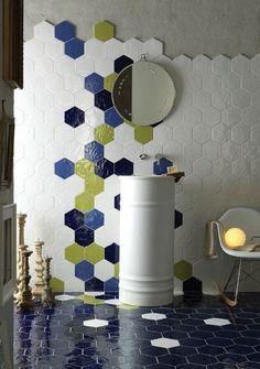 Tiles : Ceramic Mosaic Floor Tile Patterns Our Latest Obsession Is The Unfinished Backsplash Hexagon Tile Bathroomhexagon Ceramic Mosaic Floor Tile Pattern Ceramic Mosaic Floor Tile Patterns' Tiless Hex Tile, Hexagon Tiles, Tiling, Bathroom Floor Tiles, Wall Tiles, Bathroom Art, Tile Patterns, Tile Design, Deco Design