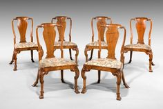 OnlineGalleries.com - Set of Six late 19th century  Queen Anne style Chairs