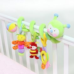 Super Soft Multifunction with Music Baby Toys Smile Green Worm Baby Crib Activity Spiral Stroller Toy * Learn more by visiting the image link.