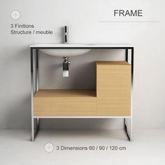 Frame, meuble salle de bain de 60 à 120 cm, 3 coloris