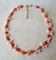 Mother's Valentine. Beaded Jewelry Designs, Jewelry Design Earrings, Gold Earrings Designs, Coral Jewelry, Bead Jewellery, Necklace Designs, Wire Jewelry, Labret Jewelry, Gold Designs