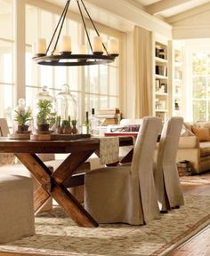 Classic Dining Room Decoration In neutral Colors Nuance Overlooking With Round Unique Pendant Lamp: Kinds Of Cool Dining Room Design Classic Dining Room, Casual Dining Rooms, Country Dining Rooms, Luxury Dining Room, Dining Room Lighting, Kitchen Lighting, Rustic Kitchen Tables, Wooden Dining Tables, Extendable Dining Table