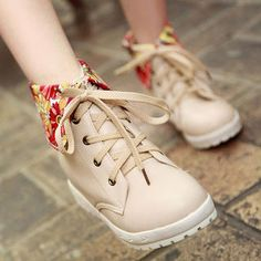 Floral-Cuff Sneakers. smoothie. yesstyle.com  $40.50  apricot, beige, orange