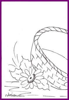 1risco para pintura em tecido - CESTO DE MARGARIDAS 1