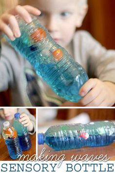 A wave bottle is an easy sensory bottle for kids to make and then explore to see what they find in their ocean. Making waves is so much fun! Sensory Bags, Sensory Bottles, Sensory Activities, Sensory Play, Learning Activities, Preschool Activities, Nanny Activities, Sensory Rooms, Indoor Activities