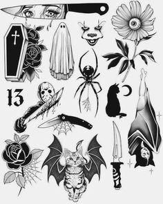 Spooky Tattoos, Dope Tattoos, Unique Tattoos, Black Tattoos, Body Art Tattoos, Tattos, Retro Tattoos, Stomach Tattoos, Symbolic Tattoos
