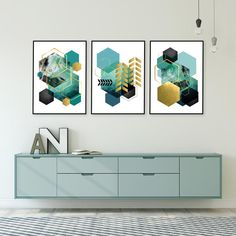 A set of 3 geometric downloadable prints in teal green with gold accents.  For the DIYer in you, instantly download your favourite artwork, take them to your local print shop or upload to an online print service, frame them in your own frames and have them on your wall ASAP! #setof3prints #printables #printableart #trendingnowart #downloadableprints #modernartprints #geometricprints #tealgoldart #urbanepiphany