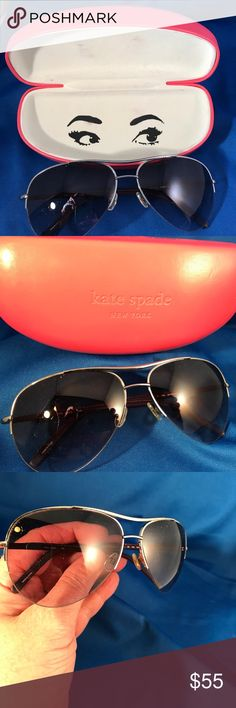 Kate Spade Barrie Aviator Sunglasses W/Case Bought these new, but didn't wear them much.  In good condition.   Kate Spade revamps a classic--the traditional silhouette has been updated by the half-rimmed design, while the leather ear pieces finish the overall look with absolute perfection. kate spade Accessories Sunglasses