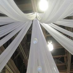 "30Ft White Ceiling Drapes Sheer Curtain Panels Fire Retardant Fabric With 4"" Pocket"