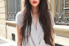 Long dark hair + grey + red