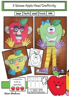 Apple Activities: Super-cute apple head craft will help practice the 5 senses. :-) Completed projects make a sweet bulletin board too. 5 Senses Craft, 5 Senses Activities, Apple Activities, Science Activities, Apple Games, Fall Preschool, Preschool Ideas, Craft Ideas, My Five Senses