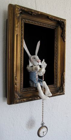 Alice in Wonderland's White Rabbit in a shadow box - FriedericyDolls Alice In Wonderland Room, Wonderland Party, Mad Hatter Tea, Shadow Box, Altered Art, Art Dolls, Dolls Dolls, Picture Frames, Diy And Crafts
