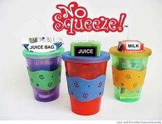 """""""NO SQUEEZE JUICE BOX HOLDER"""" prevents messy squirts from juice boxes & juice bags, has a patent-pending design that fits in a cup holder, and is available at select Wal-Mart Stores and www.nosqueeze.com. Credit: Lito and Dorothy Demonteverde Photo: Lito And Dorothy Demonteverde"""
