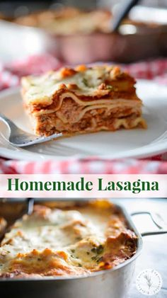 Lasagna made with a mixture of ricotta and mozzarella cheeses, layered with marinara sauce and cooked until hot and bubbly. #lasagna #pasta Lasagna With Cottage Cheese, Lasagna With Ricotta, No Boil Lasagna, Baked Lasagna, Best Lasagna Recipe, Homemade Lasagna, Pork Recipes, Pasta Recipes, Healthy Lasagna