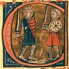 Lettrine ornant un manuscrit de Perceval le Gallois (XIIIe siècle), de Chrétien de Troyes. (Bibliothèque nationale de France, Paris.)