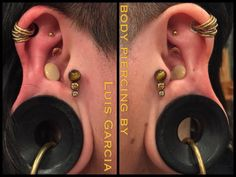 Healed 6ga traguses on @thenerikawasall @anatometalinc titanium triple gem clusters featuring tiger's eye, amber CZ, and champagne CZ #piercing #bodypiercing #philly #philadelphia #southstreet #AssociationofProfessionalPiercers #appmember #safepiercing #NoKaOiBodyPiercing #thepiercingsociety #instagood #instacool #jewelry #bodyjewelry #picoftheday #mybodymod #legitpiercingslook #legitbodyjewelry   #tragus #anatometal #gemcluster  (at NoKaOi Tiki Tattoo and Piercing)