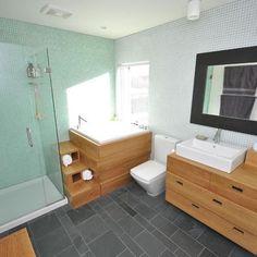 Japanese Soaking Tub Design, interesting design and steps   Pictures, Remodel, Decor and Ideas, bathroom remodeling, bathroom design, walk in shower, glass shower