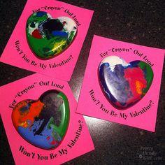 Melted Crayon Heart Valentines DIY from Pretty Handy Girl Kinder Valentines, My Funny Valentine, Homemade Valentines, Valentine Day Crafts, Holiday Crafts, Holiday Fun, Holiday Ideas, Valentine Stuff, Valentine Decorations