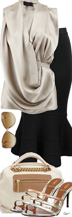 Lanvin Belted Draped Top, Skirt & Bag ● Fendi Shoes ● Tom Ford Sunglasses Classy Outfits, Pretty Outfits, Cool Outfits, Skirt Outfits, All About Fashion, Love Fashion, Fashion Outfits, Fashion Trends, Womens Fashion