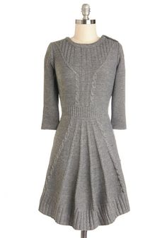 $54.99 - Warm Cider Dress - Grey, Solid, Casual, Sweater Dress, 3/4 Sleeve, Good, Crew, Short, Knit, Buttons, Knitted, A-line, Winter