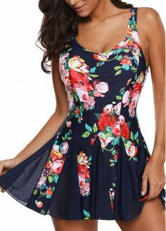 Floral Print Scoop Back Navy One Piece Swimdress | liligal.com - USD $31.00