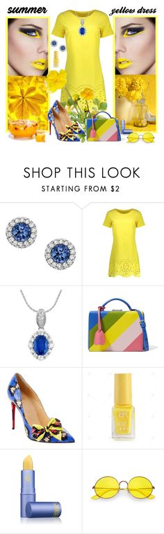 """""""Yellow Dress for Summer"""" by fantasiegirl ❤ liked on Polyvore featuring MAC Cosmetics, Mark Cross, Christian Louboutin, Lipstick Queen and Ray-Ban"""