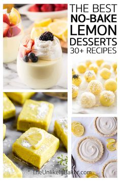 From no bake lemon cheesecake to homemade lemon ice cream, these quick and easy lemon desserts are sure to satisfy all your lemony cravings. Perfect for summer. Delicious, quick and easy to make, you'd want to make them all year long!  #lemonrecipes #lemondesserts #nobakerecipes Lemon Dessert Recipes, Lemon Recipes, Tart Recipes, Desert Recipes, Baking Recipes, Snacks Recipes, No Bake Lemon Cheesecake, Cheesecake Desserts, Easy Gluten Free Desserts