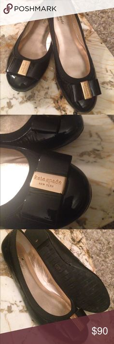 kate spade Patent Leather Thyme Flats Brand new, never worn Kate spade New York ballerina flat is finished with a bow at the toe. Bow detail with golden logo buckle. Metallic leather lining and padded insole. 1/4 stack flat heel made in Italy. kate spade Shoes Flats & Loafers