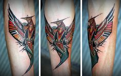 Love the geometry and colour Pheonix tattoo by David Hale